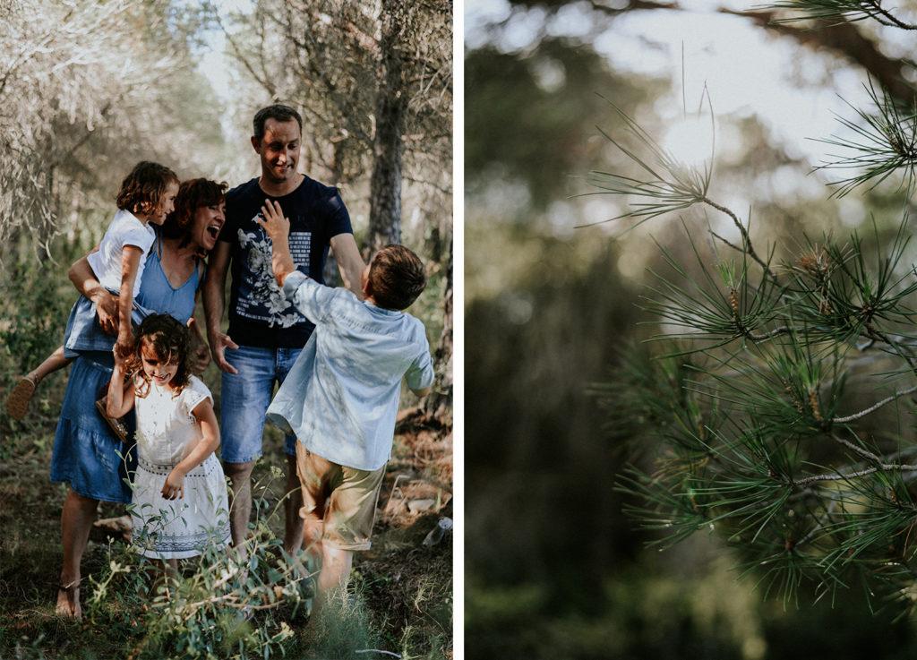 Famille en train de rire et plan rapproche d'une branche de pin