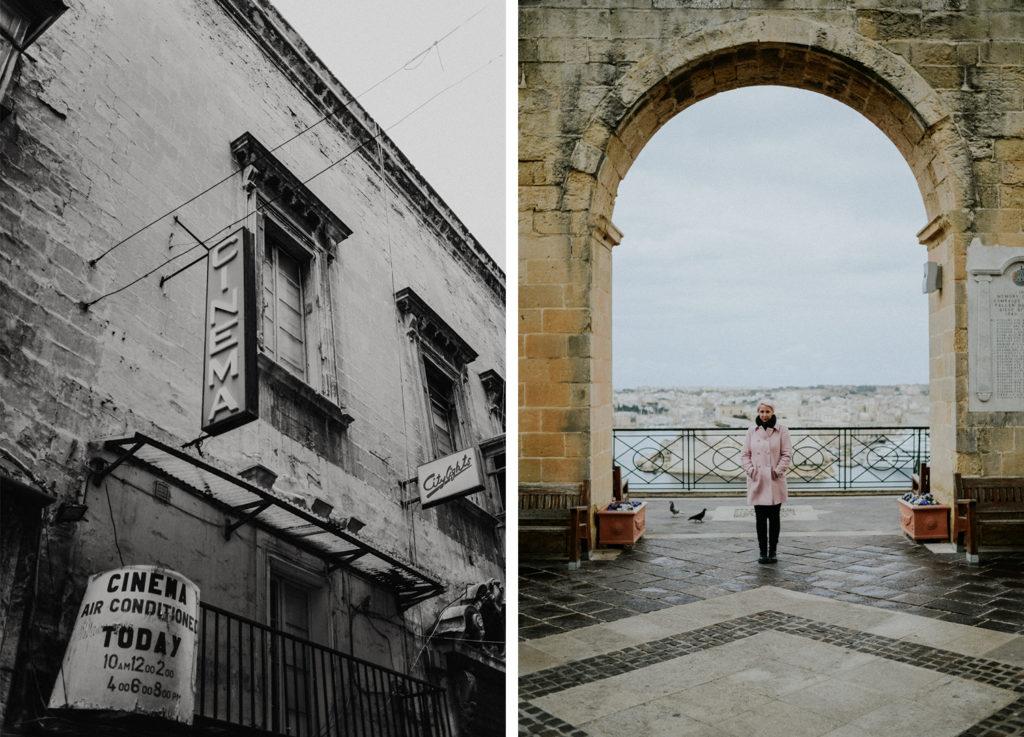 Vieux cinéma - Portrait de femme devant alcôve - Malte