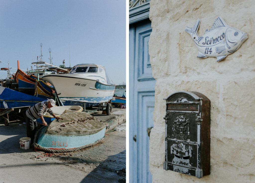 Homme nettoyant son bateau - Boîte aux lettres maltaise - Marsaxlokk