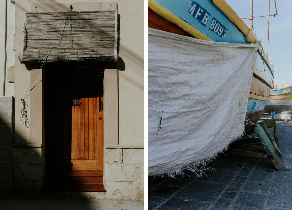 Porte avec ombre - Bâche sur bateau maltais - Marsaxlokk
