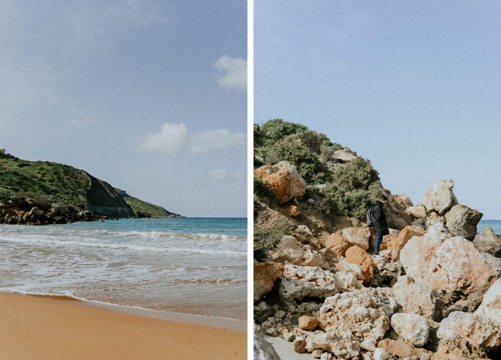 Paysage marin - homme au milieu de rochers - Gozo