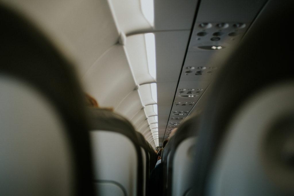 Intérieur d'un avion - perspective des sièges